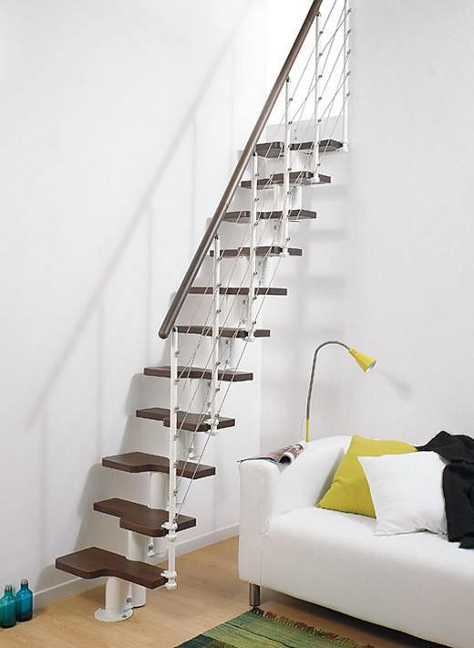 Mittelholmtreppe Pixima Mini Line - Metallfarbe weiß / Holzfarbe dunkel