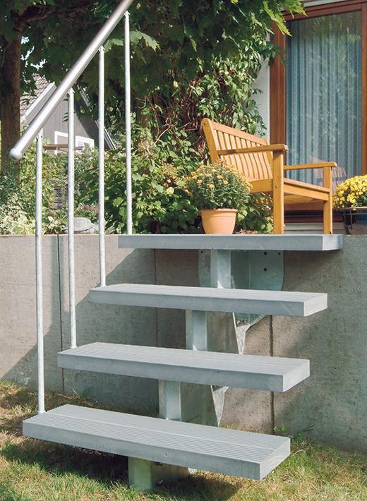 Außentreppe Gardenstep mit Kunststoffstufen grau