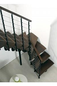 Mittelholmtreppe Komoda 89 - Buche dunkel / Metallteile schwarz
