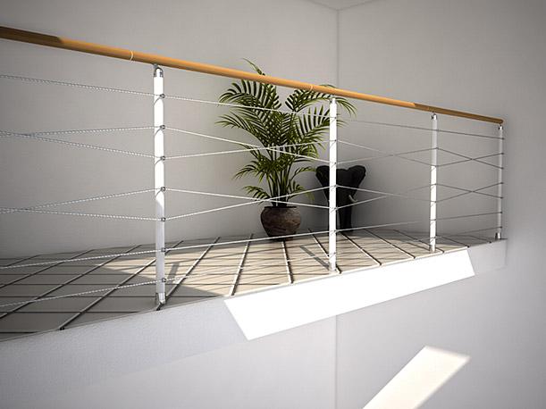Spindeltreppe Cube Line - Brüstungsgeländer mit gekreuzten Edelstahlseilen als Untergurte