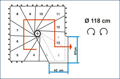 Spindeltreppe Cube Ø 118 cm Grundriß