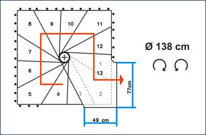 Spindeltreppe Cube Ø 138 cm Grundriß