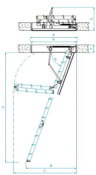 Maße Bodentreppe F30 Holzleiter
