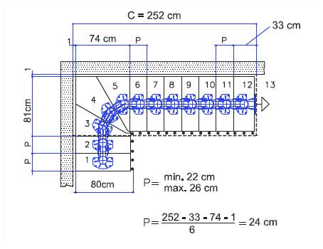 Treppenverlauf Mittelholmtreppe Long mit Breite 80 cm