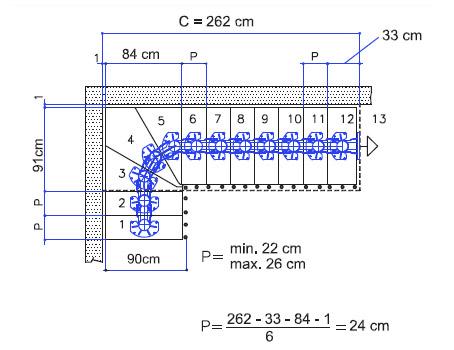Treppenverlauf Mittelholmtreppe Long mit Breite 90 cm
