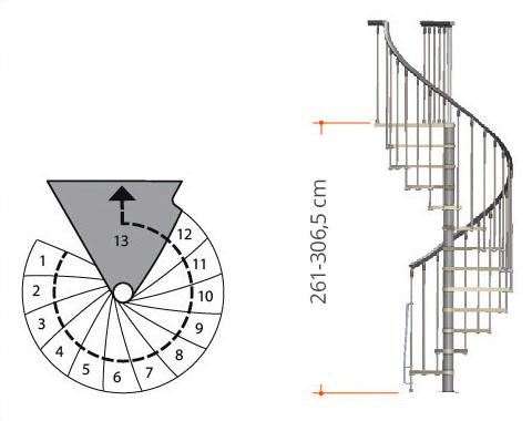 Spindeltreppe Nice mit 13 Steigungen