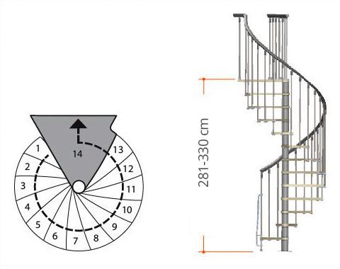 Spindeltreppe Nice mit 14 Steigungen