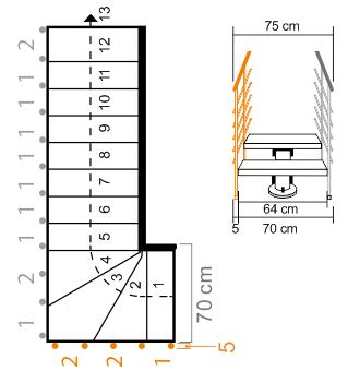 Außengeländer Mittelholmtreppe Oak 90 XTRA bei Treppenbreite 70 cm