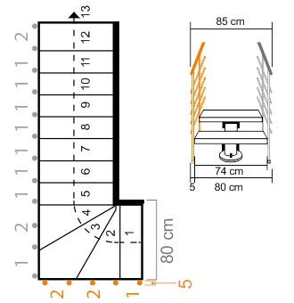 Außengeländer Mittelholmtreppe Oak 90 XTRA bei Treppenbreite 80 cm