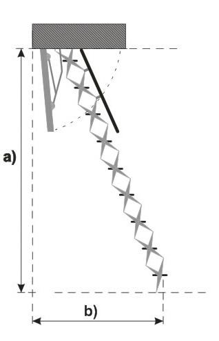 Auslage der Treppe nach lichter Raumhöhe