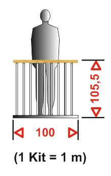 Maße des Kit Brüstungsgeländer für die Mittelholmtreppe Venus02